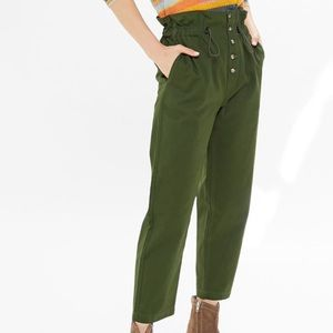 UO Terra High Waisted Button Front Paperbag pants